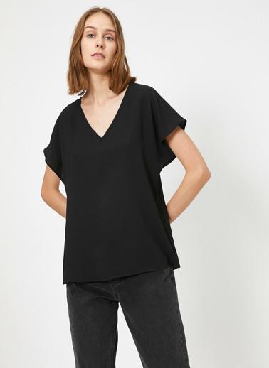 Koton V Yaka Bluz Siyah